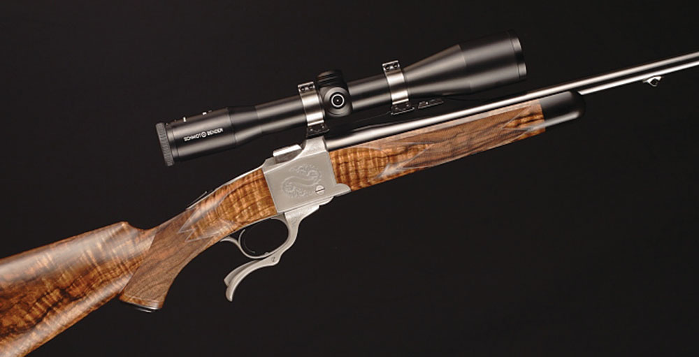 Because of its classic styling the No. 1 is a favorite platform for customizing. The gun work on this model was done by gunmaker James Anderson with engraving by Roger Kehr.