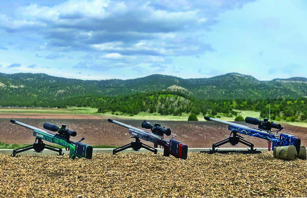 All three of these Alamo Precision-built ELR rifles are sporting the Phoenix Precision bipod. It was the preferred bipod before the rule changed to only permit bipods that are 8 inches wide when folded.