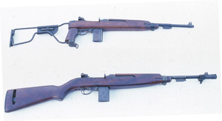 The author's two DCM M-1 carbines. Notice the M-1A1 (paratrooper) folding stock he installed on one of them. The stock was a gift from a fellow West Point cadet and is a natural because the author was both a paratrooper and a jump master when he was in the service.