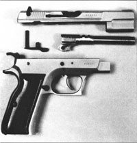 The CZ-75 and/or TZ-75 are stripped according to the time-honored Browning method, a la Hi-Power.