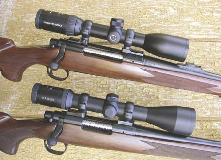 Two superb 30mm hunting variables on Remington rifles: Schmidt & Bender (top) and Kahles.