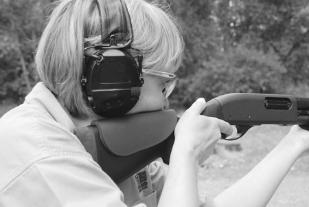 "Author's favorite shotgun is an old, well-worn Remington 870 set up with good sights and a 12"" length-of-pull Hogue stock that fits her perfectly."