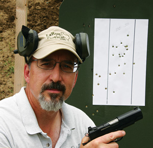 Here I am, with the Ned 9mm. I'm two hits short of a passing score, shooting a rifle qualification course.