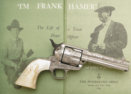 "Owned and carried by the legendary Texas Ranger who tracked down and terminated the careers of the notorious ""Bonnie and Clyde."" Factory engraved Colt single-action revolver (serial #180260) with 4 3/4-inch barrel and handsome pearl grips with high-relief carving of an eagle's head. The revolver was originally owned and used by William H. Ford in a fatal shooting in Texas and subsequently acquired by Frank Hamer whose Texas Ranger career had begun in 1906 at age 22. The historic Colt revolver was accompanied by documents written personally by Hamer stating: ""this weapon has been carried by me for a number of years while in the services as a peace officer."" Illustrated here with a popular biography of Hamer's distinguished career. (As illustrated in The Peacemakers; Arms and Adventure in the American West, with author's permission)"