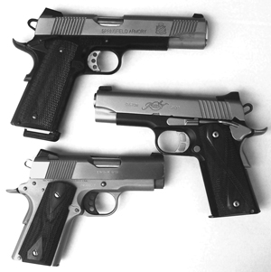 These choices are pretty simple. They are all aluminum frame pistols with barrel lengths of (top to bottom) 5, 4 and 3 inches.