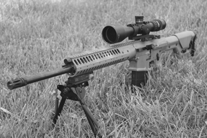 The military is moving from just bolt guns to adding semi-auto (and select-fire) sniper rifles. This is a LWRCI REPR, done up in flat dark earth.