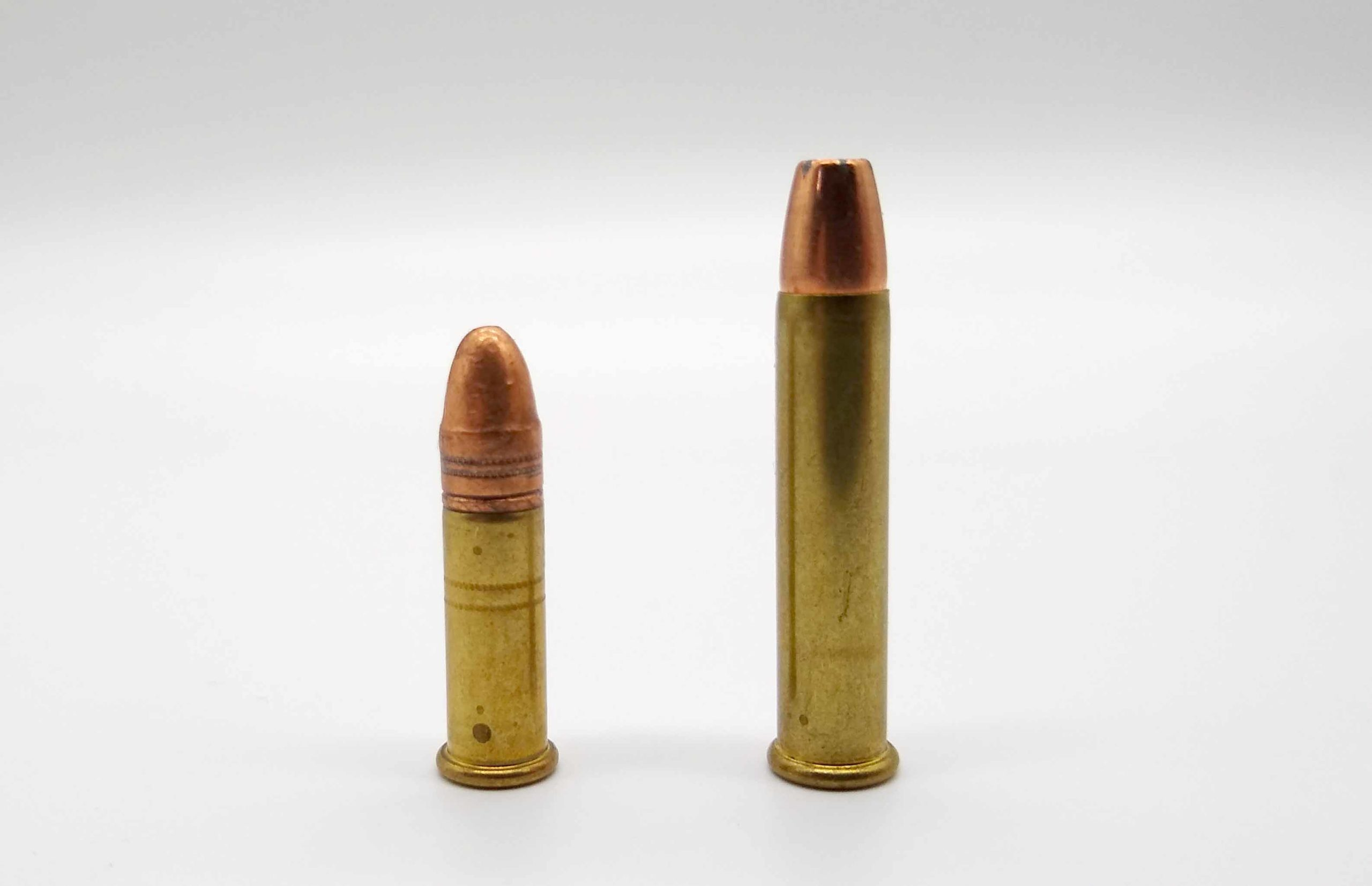 As is seen, the .22 Magnum (right) had much more case capacity as compared to the .22 Long Rifle (left).