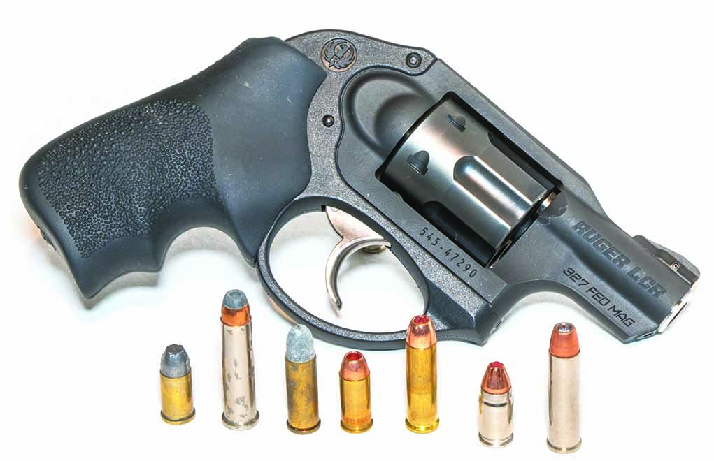 A revolver such as this Ruger LCR in .327 Federal Magnum can fire five of the seven .32-caliber cartridges shown here.