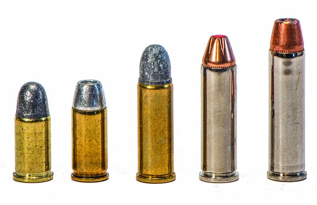 One revolver that can fire all five of these cartridges, covering a wide power range, is extremely versatile. (Left to right: .32 Short, .32 ACP, .32 Long, .32 H&R Magnum and .327 Federal Magnum.)