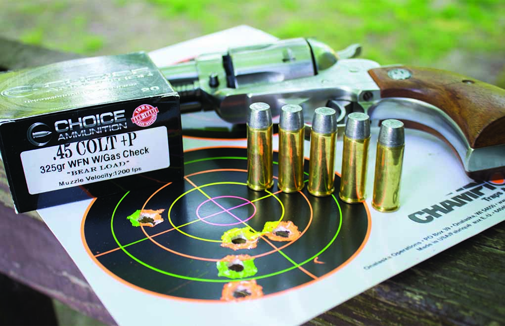 The author's preferred load for bear country: a 325-grain hard-cast from Choice Ammunition, which leaves the barrel of his Ruger Blackhawk at slightly more than 1,300 fps. But, you do want to hang on for the ride ... although this 40-yard target engenders confidence.