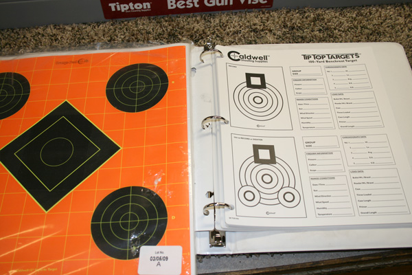 These smaller targets are great for sighting in and recording groups.  I like the notebook style benchrest targets that are made out of a plastic-type paper. They are weather resistant and can be kept in a ring binder. The actual group is right there to compare with others along with the entire climate and load info.