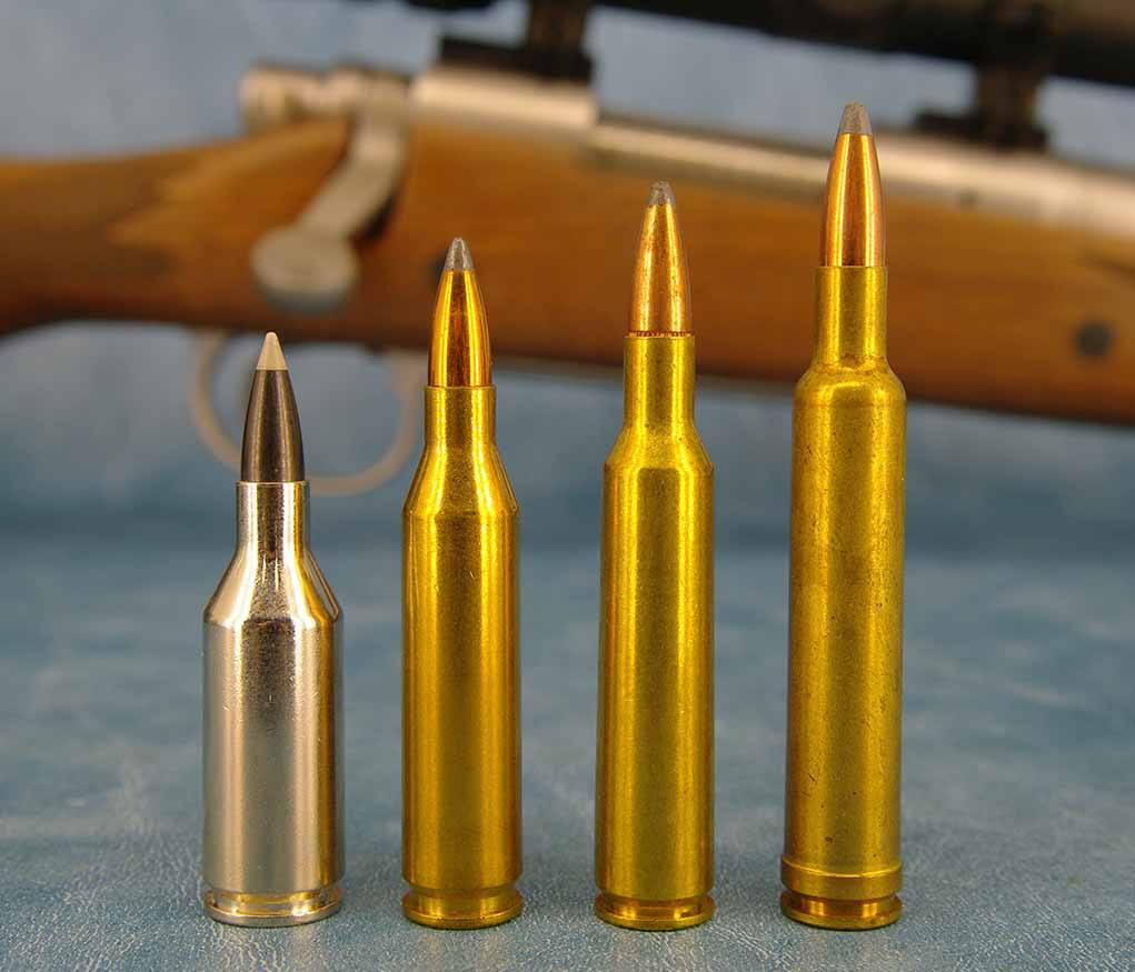 As a caliber, the 6mm has the least number of commercial members. Starting at left is the ill-fated .243 WSSM, .243 Win., 6mm Rem. (originally the .244 Rem.), and .240 Weatherby.