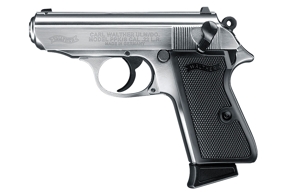 A true-to-scale Walther PPK in .22 LR is an ideal trainer to complement its .380 ACP-chambered big brother. Available in blued or nickel (pictured here), it's an easily concealable .22 that gushes with class.