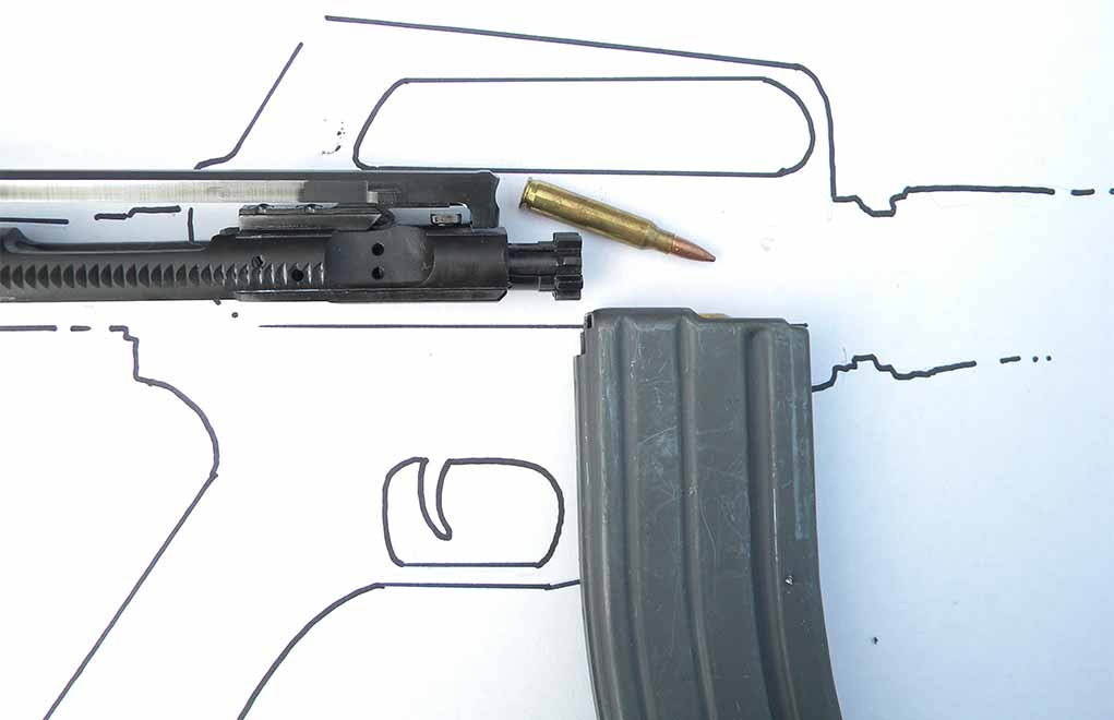 The Type V stoppage is a bolt override. A round or piece of brass gets on top of the bolt and is wedged into the channel where the charging handle rides. You don't see these stoppages very often. It looks complicated, but it's actually fairly easy to clear.