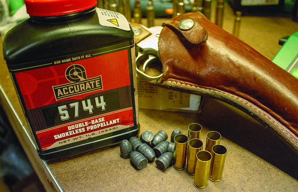 Accurate 5744 is a perfect choice for larger, straight-walled pistol cartridges such as the .45 Colt.