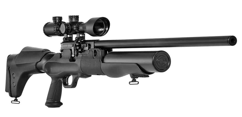 The Hatsan Hercules has a length of 48 inches and weighs 13 pounds. It's available in .30-, .35- and .45-caliber configurations. - airguns