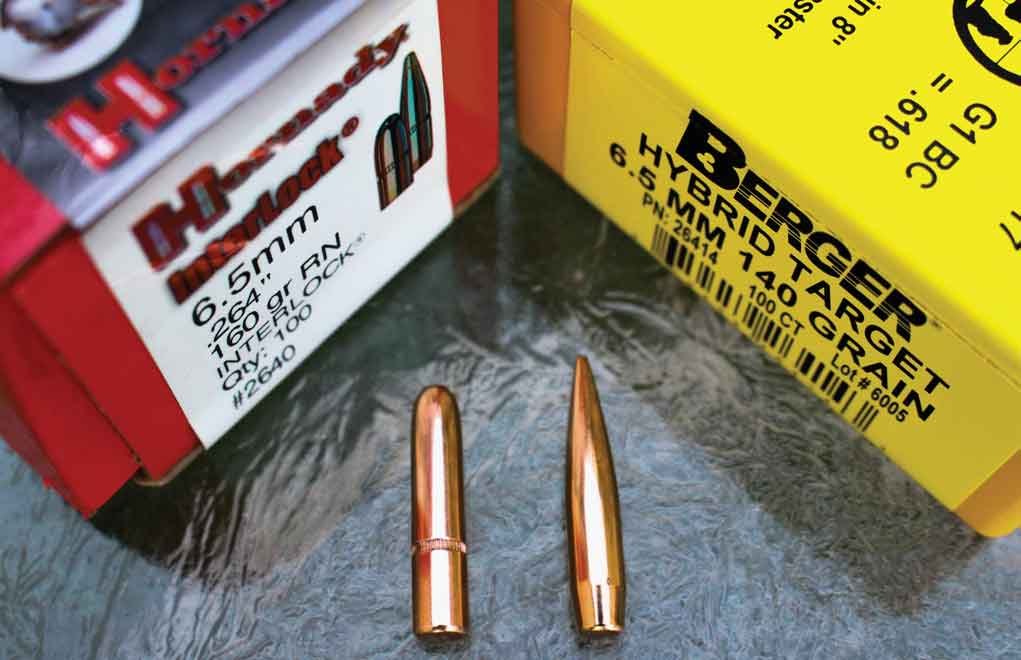 Two 6.5mm bullets. While the heavier 160-grain (L) has all sorts of bearing surface, the sleek 140-grain bullet (R) has less contact with the rifling in spite of being longer.