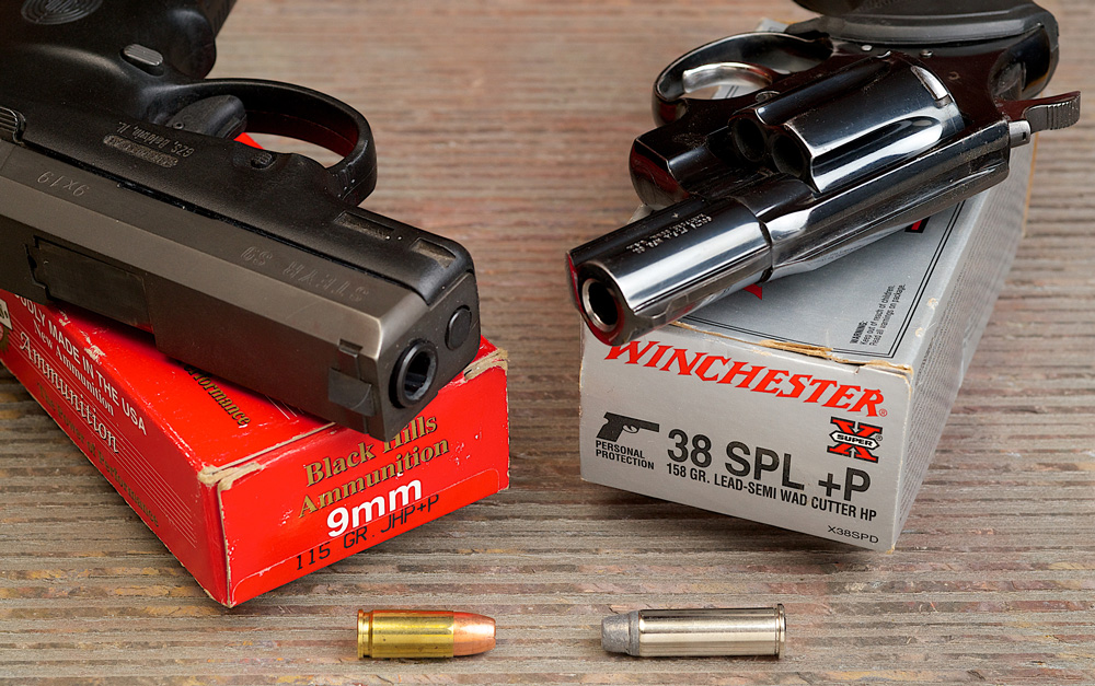 Author's choice in defensive calibers: 9mm and .38 Special.