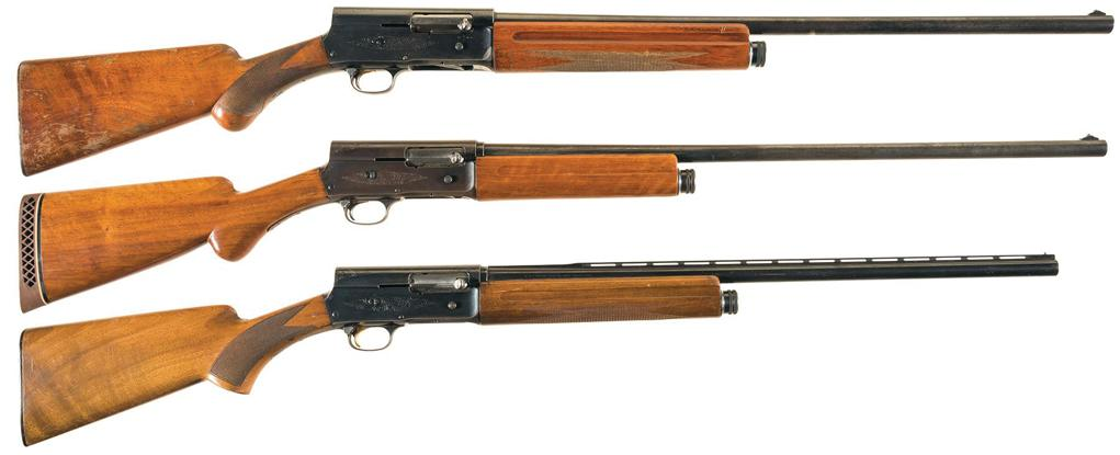 The Auto-Five was made in several variants, with different barrel lengths and stock styles. From the top, a 12-gauge, 20 gauge and Sweet Sixteen with ventilated rib.