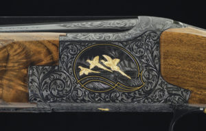 Left receiver detail of one of the most popular Browning shotguns, a custom-engraved Midas Grade Superposed. Courtesy Rock Island Auction.