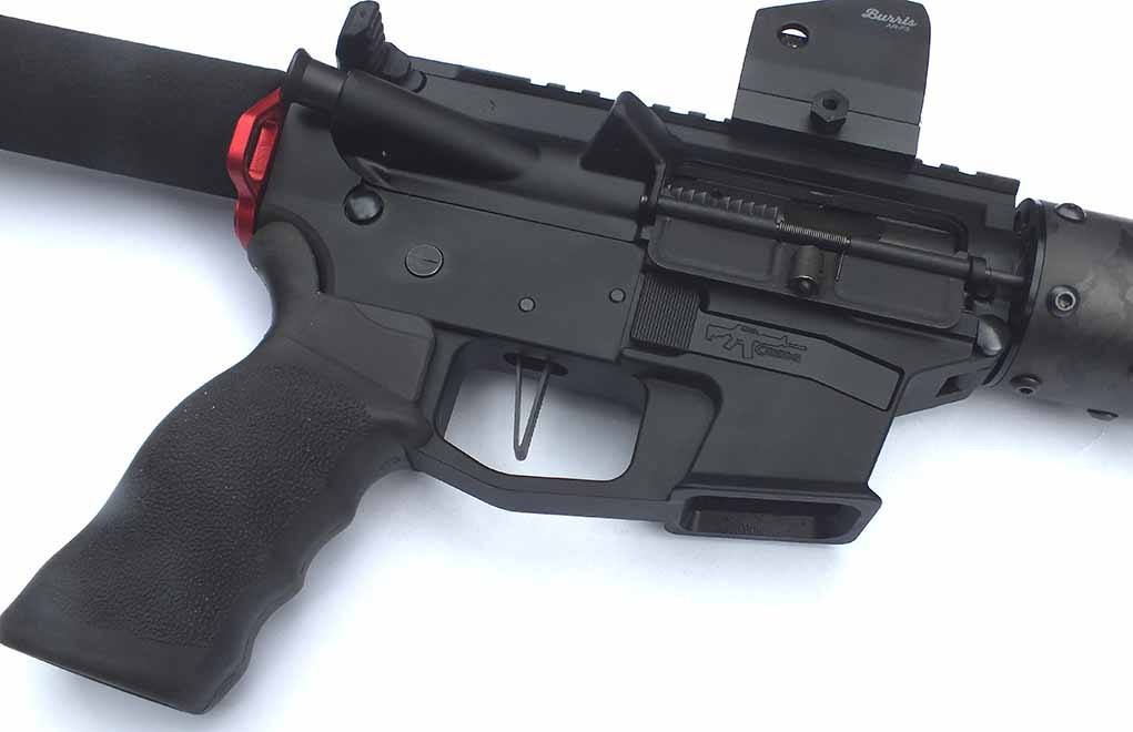 The Elftman AR 9 trigger is designed to work with all AR 9mm carbines, and it provides a precision trigger with no fear of reset and chain-fire issues. I chose the flat-front model.