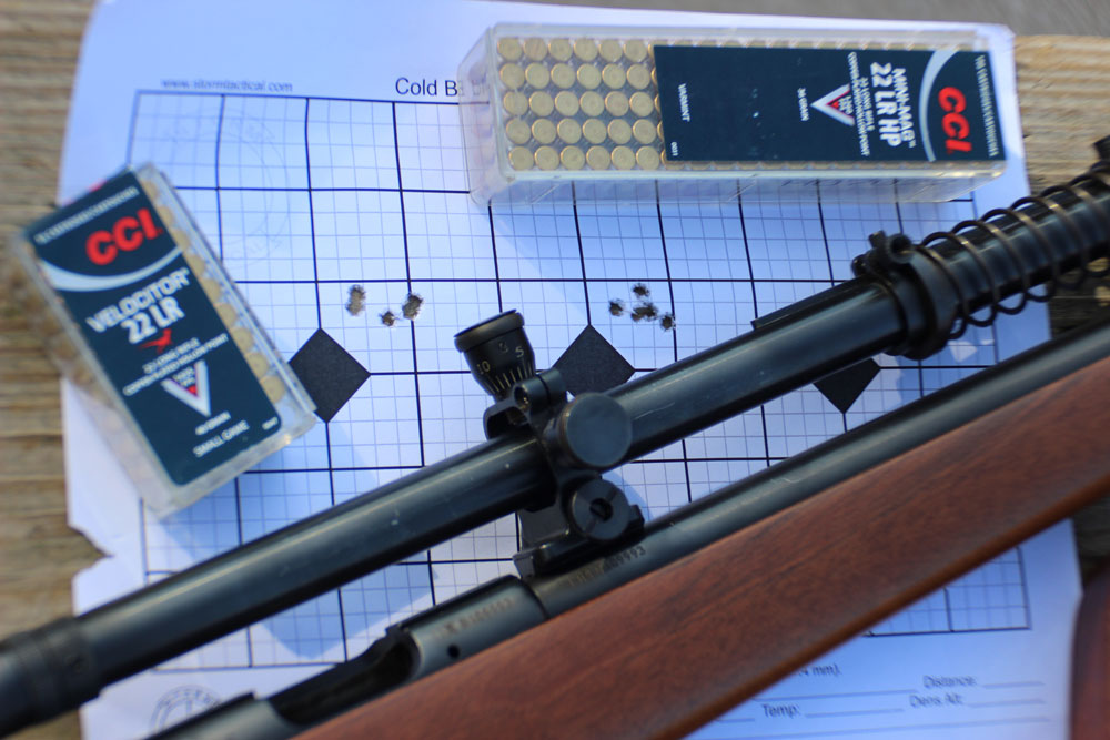 Accuracy with CCI's 22 LR HP 40-grain Varmint and Velocitor Small Game were very good, for 50-yard plus distance shooting.