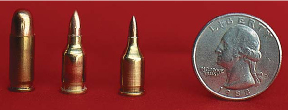 Wildcat cartridges have some of the niftiest names. Take Bill Eichelberger's 10-caliber or 14-caliber wildcats, for example. Shown next to a factory 25 ACP case are the 10 Eichelberger Dart, and its bigger brother, the 14 Eichelberger Dart. The little brother can send a 10-caliber, 7.2-grain bullet to over 3000 fps; the larger sibling pushes a 14-caliber, 10-grain projectile to almost 3000 fps.