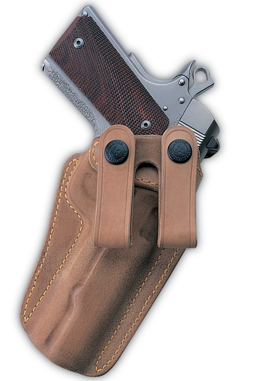 galco  The Royal Guard is a great choice for larger defensive pistols that are to be worn inside the pants. The rough side of the leather faces out, with the friction adding stability. The smooth side is on the inside for a quick draw and easy holstering. It is made of horsehide with a natural finish. ($130, galcogunleather.com)