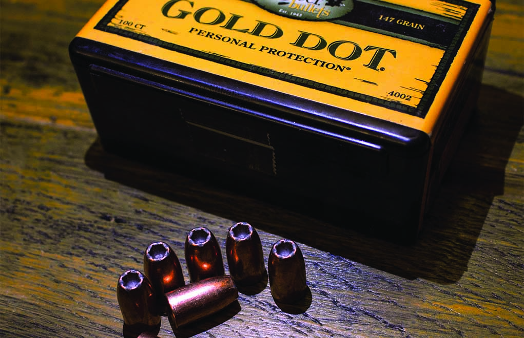 Speer's Gold Dot, shown here in 9mm, 147-grain, is a great bonded-core bullet.