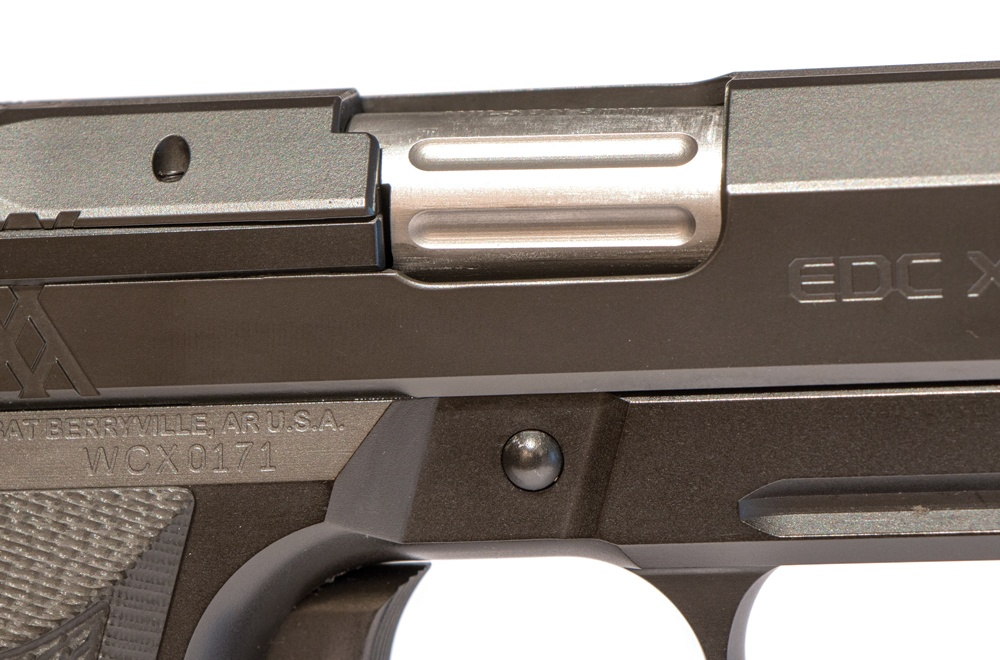 Flutes have been added on the outside of the barrel and chamber to reduce weight and add a bit of class to the pistol.
