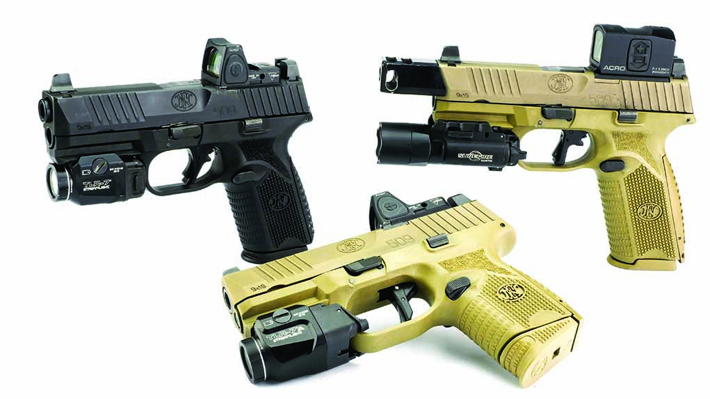 From left to right, FN 509 Midsize MRD, FN 509 Compact MRD, FN Tactical.