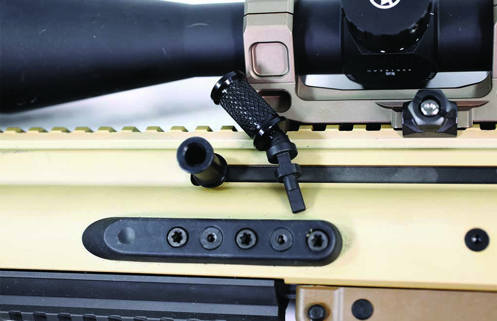 If the reciprocating charging handle is a problem, you can easily swap it out for an angled one from HDD Tactical.