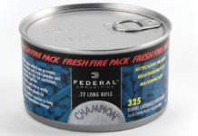 The Champion .22 Long Rifle Fresh Fire Pack has 325 36-grain copper-plated hollow-point cartridges in a nitrogen-sealed can that prevents corrosion and keeps powders and primers dry. Once opened, it has a resealable plastic lid to keep the ammo protected. $20.(federalpremium.com)