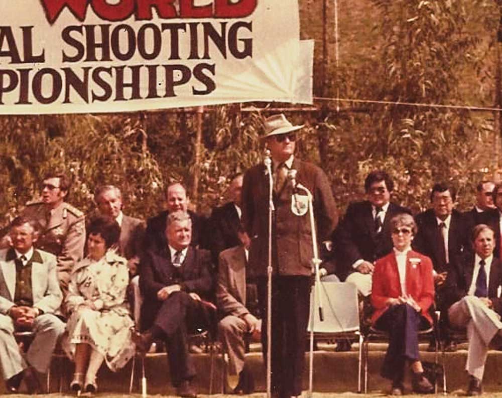 Cooper speaking at the 1979 World Practical Pistol Shooting Championships (IPSC) in South Africa.
