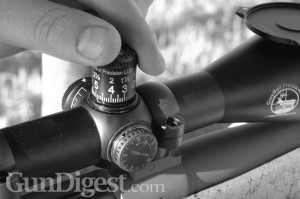 The GreyBull/Leupold scope dial is machined to your specific load, so you can turn it to a known distance, hold center, and plant a bullet right there. It has 1/3-minute clicks for increased range.