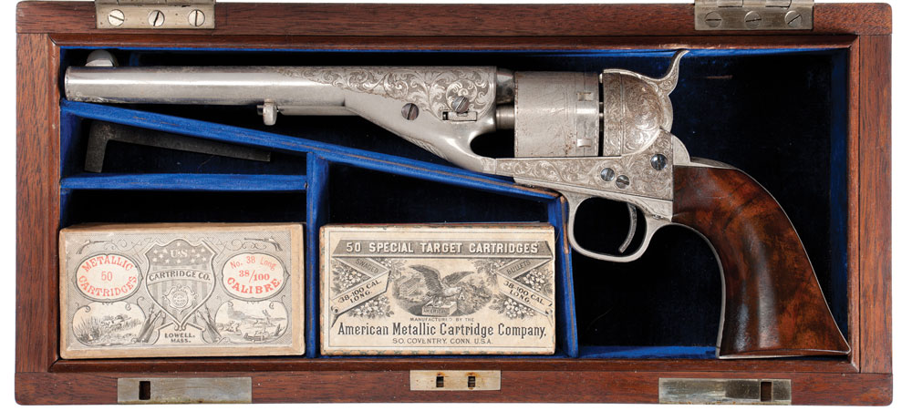 Extremely Rare and Historic Serial Number, 1, Exhibition Quality Deluxe Factory Engraved, Cased Presentation, Colt Model 1861/72 Navy Cartridge Revolver