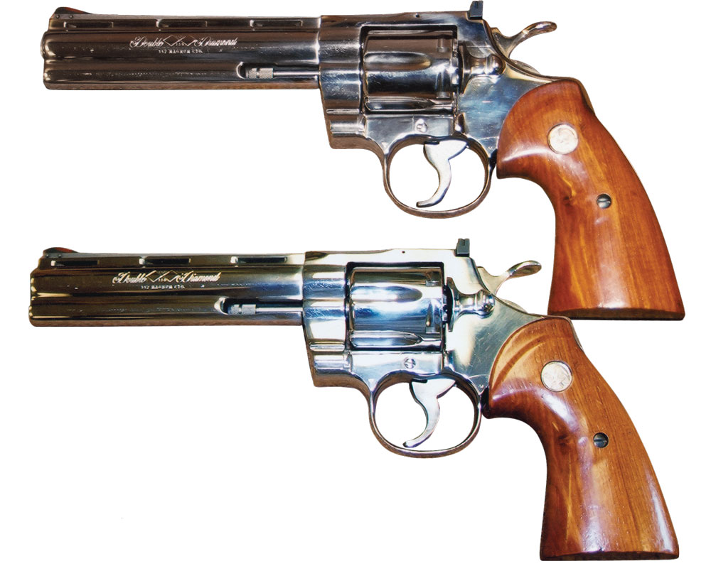 High polished Colt Pythons. Photo from Massad Ayoob's Greatest Handguns of the World.