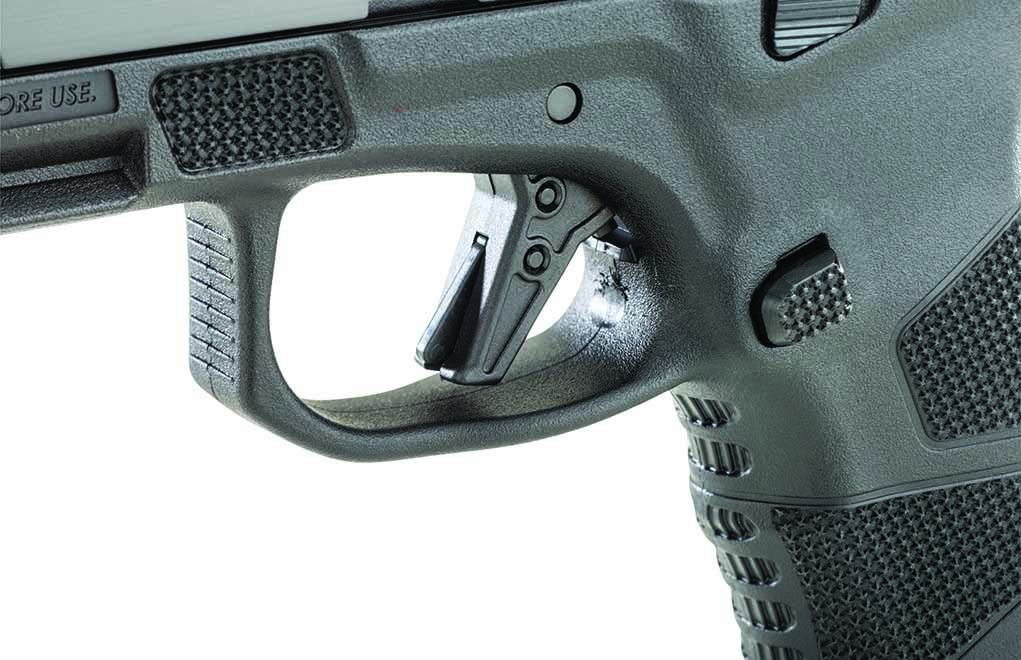 The flat-faced polymer trigger yields a crisp, 5.5-pound trigger pull.