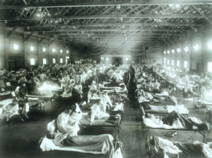 The flu ward at Camp Funston, Kansas, in 1918. These soldiers are sick with the Spanish Flu, a pandemic that would kill 50 million people worldwide. (U.S. Army photo - public domain)