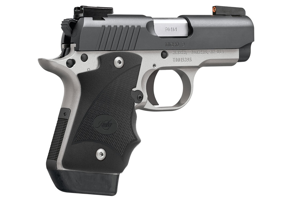 The Kimber Micro 9 Two-Tone (DN) is a subcompact single-action 9mm based on the 1911. The large TruGlo sights make it feel like you are aiming a full-size handgun.