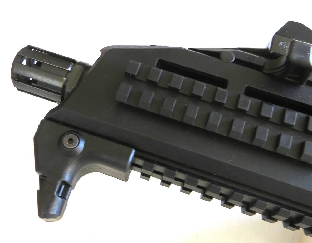 The CZ Scorpion EVO features a hand stop to ensure your support hand doesn't slip past the muzzle. Note the ample rail space.