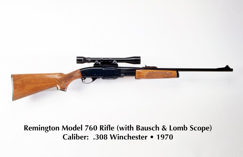 The Remington Model 760 rifle was equipped with a Baush & Lomb 4x scope with external mounts. Its accuracy was not adequate for sniper rifle use.