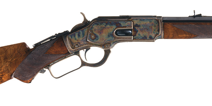 This magnificent, deluxe special order Winchester Third Model 1873 lever action with brilliant case hardening went for $149,500.