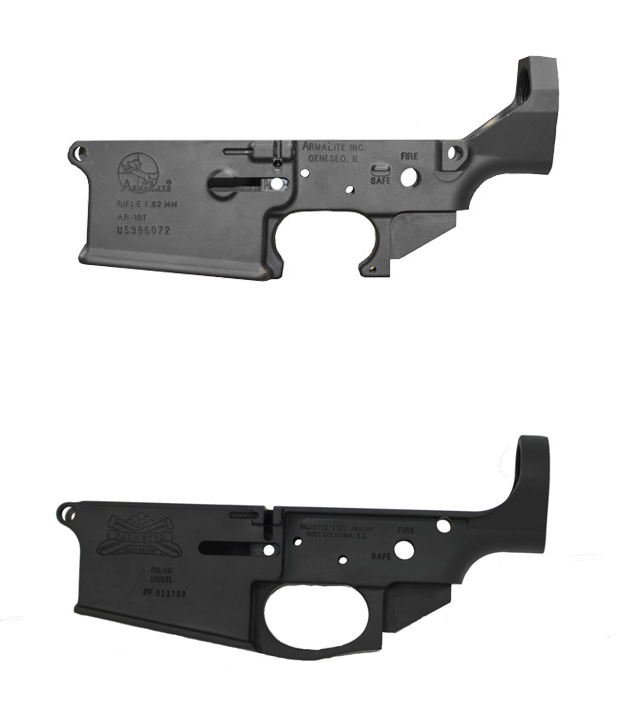 Top: ArmaLite pattern AR-10 lower receiver, note the angular rear cut. Bottom: Palmetto State Armory DPSM pattern lower with elliptical cut.