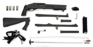 This is the MCS—Modular Combat System—for the Model 870. Three stocks, three barrels, two magazine tubes, accessory mounts, and Remington's REM LOC quick-change stock system allow officers and military personnel to customize their shotgun to meet ever-changing circumstances in the field.