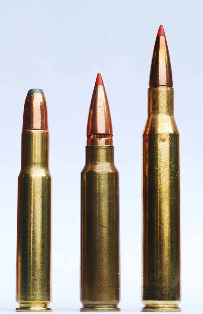 The SPC's parent case, the .30 Remington (left), was all but forgottent. Here it is next to a (from left) .300 Savage and .280 Remington.