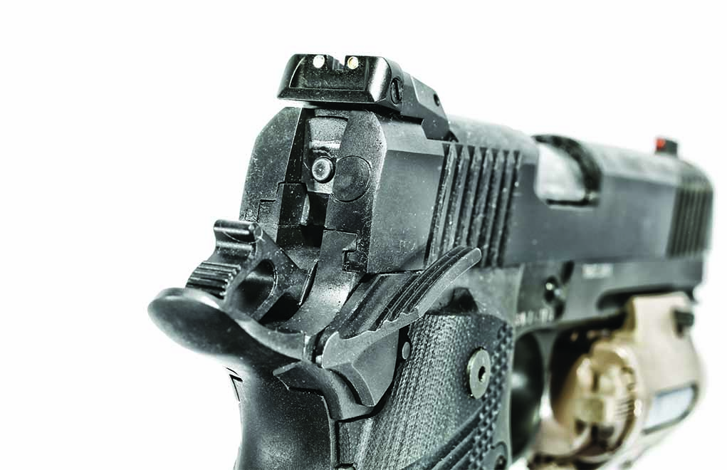 The two white dots on the rear sight work well with the red fiber-optic front blade.