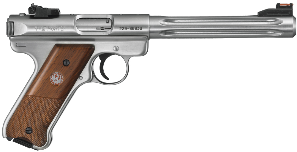 An option for the Ruger .22 pistol Mark III Hunter Model is this attractive and ergonomic set of contoured laminate grips.