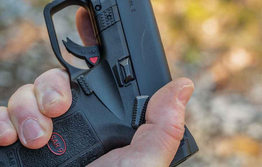 The thumb safety on the SAR 9 has a very low profile but is easy to manipulate.
