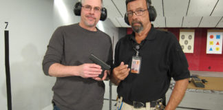 The author, Gun Digest Publisher Jim Schlender, left, joined author Massad Ayoob for a firsthand look at the new Glock 43 at the Glock range in Smyrna, GA. Ayoob serves on the board of the Armed Citizens Legal Defense Network.